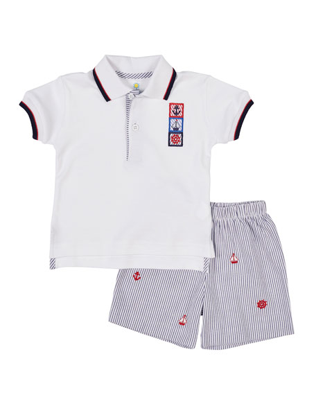 Florence Eiseman Nautical Polo Shirt w/ Seersucker Shorts,