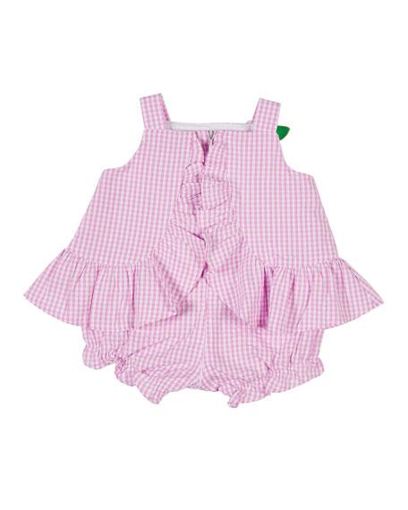 Gingham Seersucker Ruffle Playsuit Dress, Size 3-18 Months