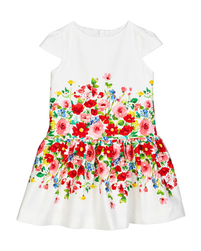 Cap-Sleeve Flower Printed Dress  Size 4-7