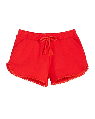 Chenille Drawstring Shorts w/ Pompom Trim