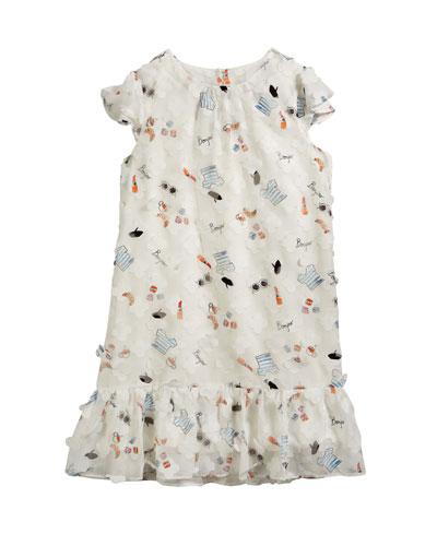 Paris Icon Print Ruffle-Trim Shift Dress  Size 7-16