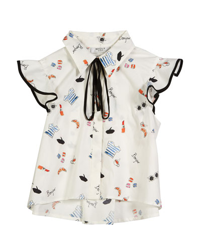 Myla Paris Icon Print Button-Down Top  Size 7-16