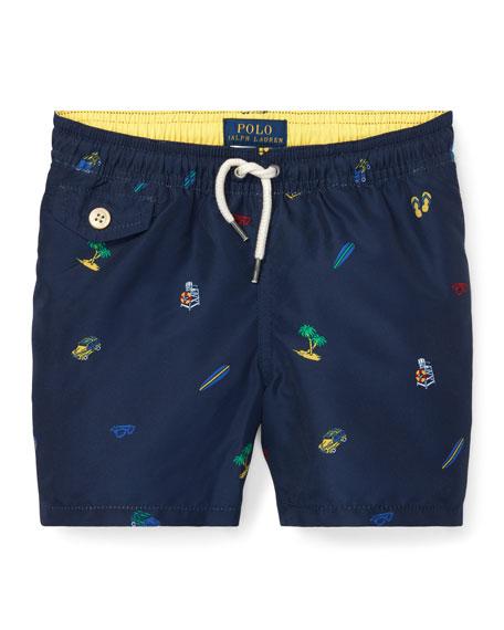 Ralph Lauren Childrenswear Beach Icon Printed Swim Trunks,