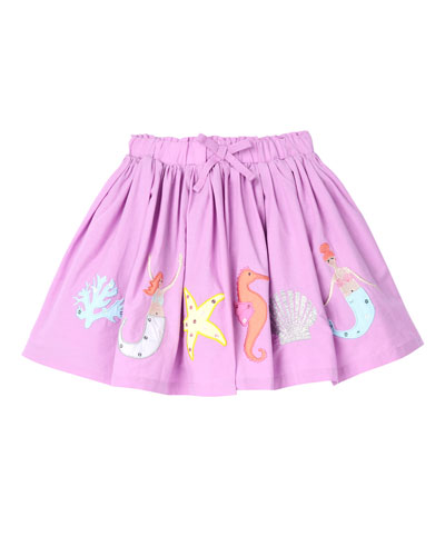 Mermaid Applique A-Line Pleated Skirt  Size 2-6