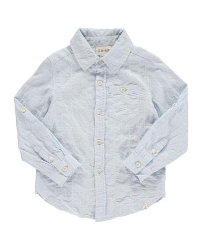 Woven Windowpane Collared Shirt  Size 2T-10