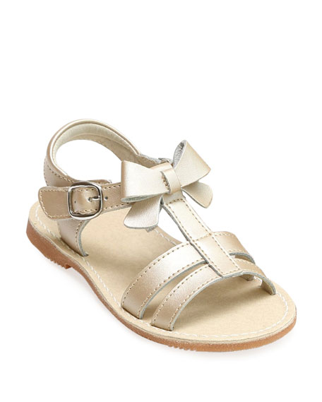 Janie Leather T-Strap Bow Sandal, Kids