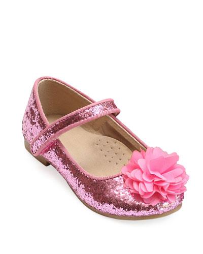 Alice Sparkly Glitter Flower Flats  Baby/Toddler/Kids