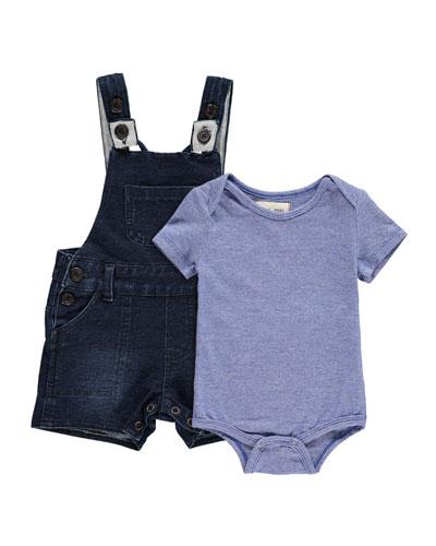 Short-Sleeve Jersey Bodysuit w/ Denim Overalls  Size 0-24 Months