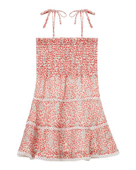 Cindy Cherry Print Shirred Dress, Size 8-16