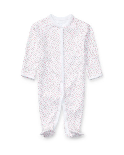Floral Print Cotton Footie Pajamas  Size Newborn-12 Months