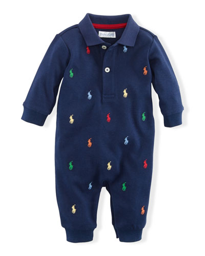 Logo Embroidery Polo Coverall  Size 3-12 Months