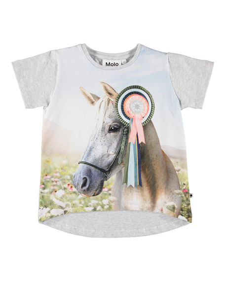 Molo Risha Show Horse Print Short-Sleeve Tee, Size