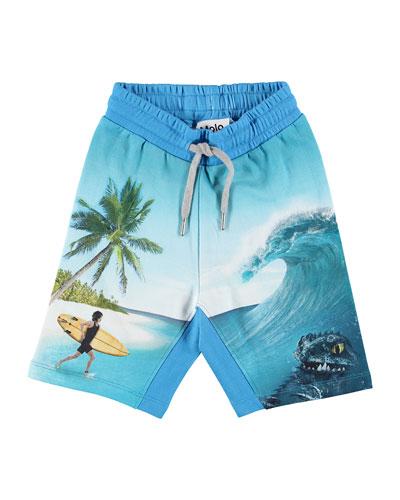 Aliases Surfer & Sea Creature Print Sweat Shorts  Size 4-12