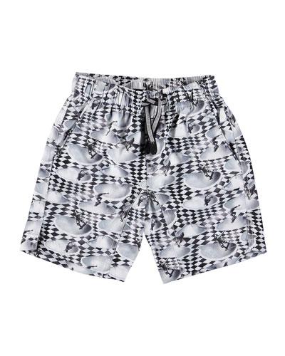 Nario Skater Check Print Swim Trunks  Size 2T-12