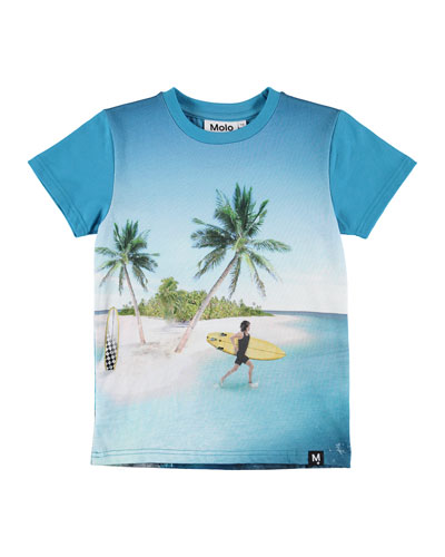 Raven Surfer & Sea Creature Print Short-Sleeve Tee  Size 4-12