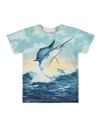 Raul Jumping Swordfish Print Short-Sleeve Tee  Size 4-10