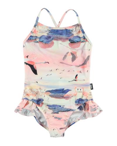 Noona Flamingo Print One-Piece Swimsuit  Size 9M-10