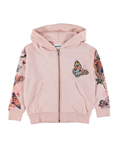 Mel Zip-Up Hoodie w/ Butterfly Print Arms  Size 3-12