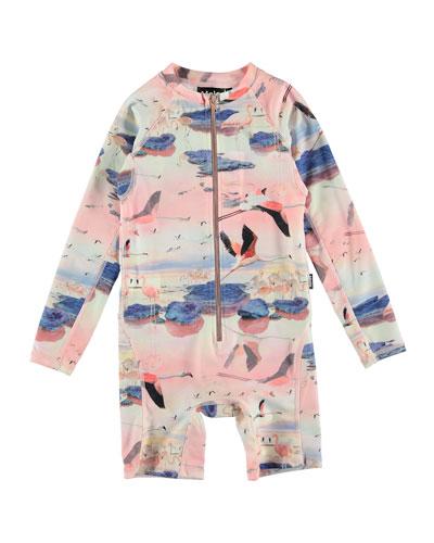 Neka Flamingo Print Long-Sleeve One-Piece Rash Suit  Size 9M-4T
