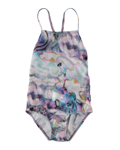 Neda Shell Print One-Piece Swimsuit  Size 6-14