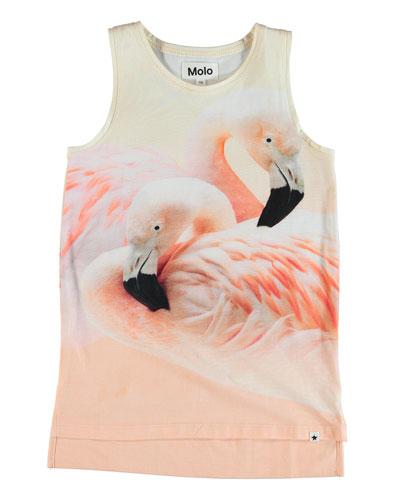 Ro Flamingo Print Tunic Tank Coverup  Size 2-12