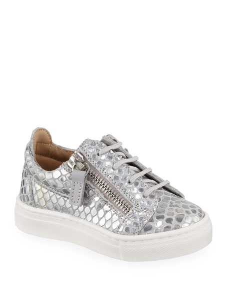 ff09ee72ca43d Giuseppe Zanotti London Metallic Embossed Leather Low-Top Sneakers,  Baby/Toddler