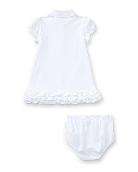 Logo Embroidery Ruffle Hem Polo Dress w/ Bloomers, Size 6-18 Months