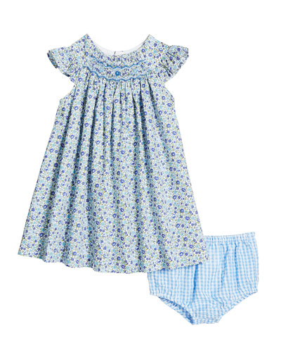 Short-Sleeve Floral Smocked Dress w/ Gingham Bloomers  Size 3-24 Months