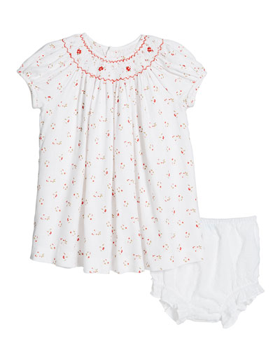 Smocked Floral Dress w/ Swiss Dot Bloomers  Size 3-24 Months