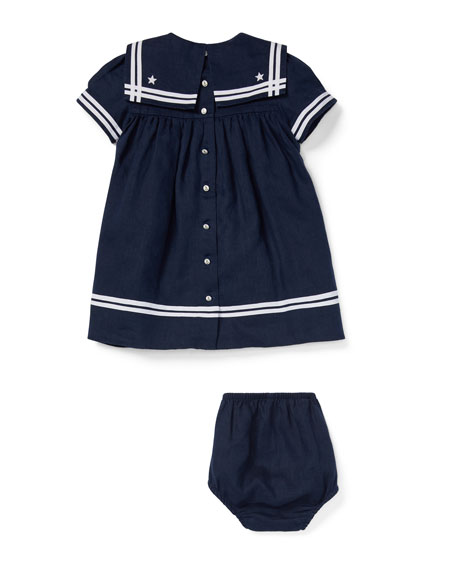 Short-Sleeve Sailor Dress w/ Bloomers, Size 6-24