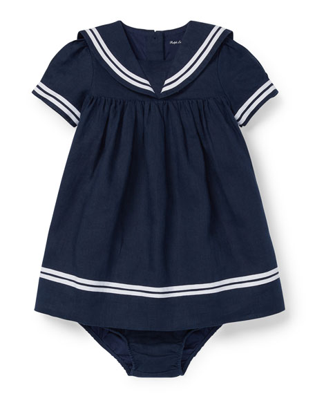 Ralph Lauren Childrenswear Short-Sleeve Sailor Dress w/ Bloomers,