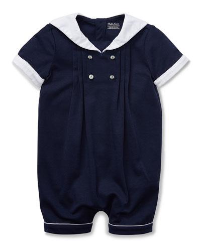 Pintucked Sailor Shortall  Size 3-12 Months