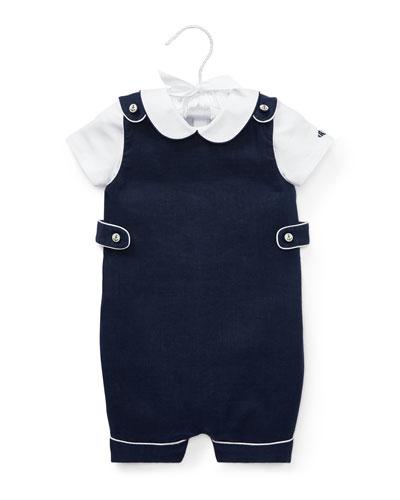 Peter Pan Collar Bodysuit w/ Overalls  Size 6-24 Months