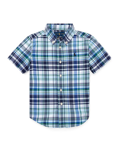 Short-Sleeve Collared Plaid Shirt  Size 2-4