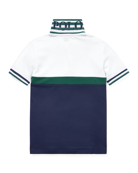Colorblock Knit Polo Top, Size 2-4