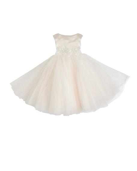 Joan Calabrese Satin & Tulle Tea Length Dress,