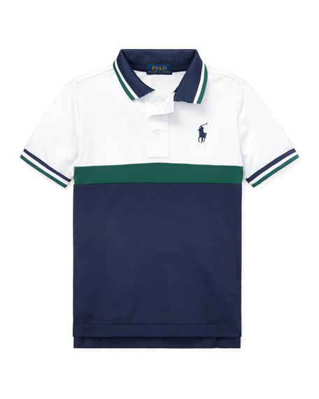 Colorblock Knit Polo Top, Size 5-7