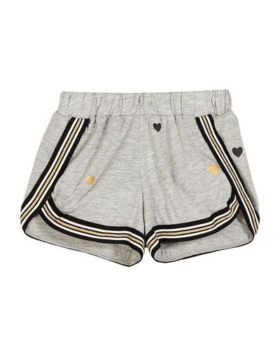 Metallic Heart-Print Shorts w/ Striped Taping  Size S-XL