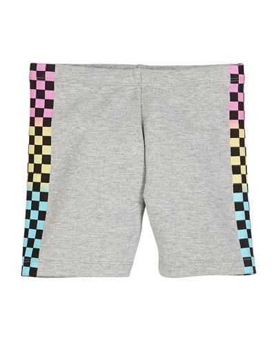 Heathered Bike Shorts w/ Checkered Print Sides  Size S-XL