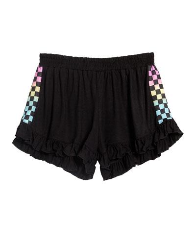 Ruffle Hem Shorts w/ Check Sides  Size S-XL