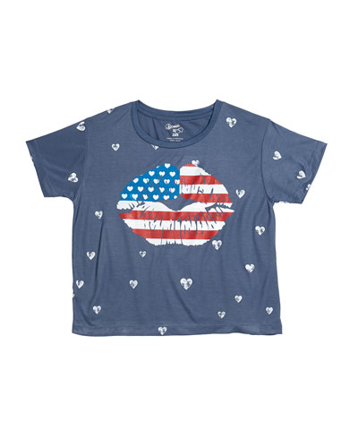 Mini Hearts Print Tee w/ American Flag Mouth Graphic  Size S-XL