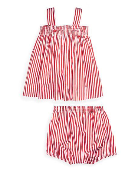 3134105a5cf Ralph Lauren Childrenswear Shirred Bengal Stripe Dress w  Matching ...