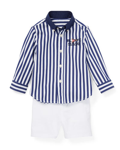 723ff6744 Long-Sleeve Collared Shirt w  Shorts   Belt Size 6-24 Months Quick Look. Ralph  Lauren Childrenswear