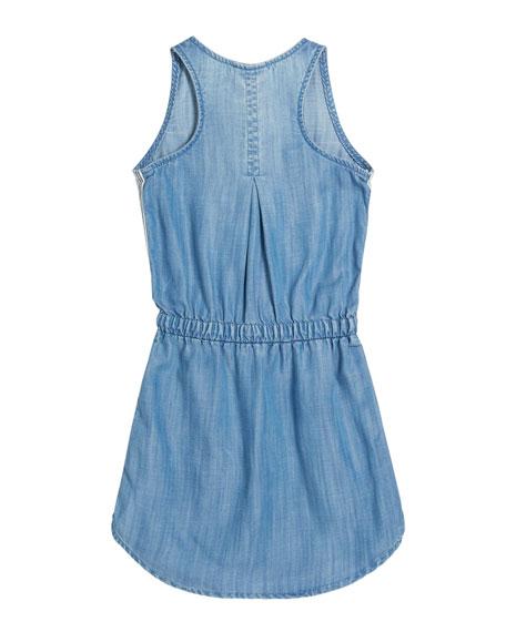 Sporty Tank Sleeveless Denim Dress w/ Striped Trim, Size 8-14