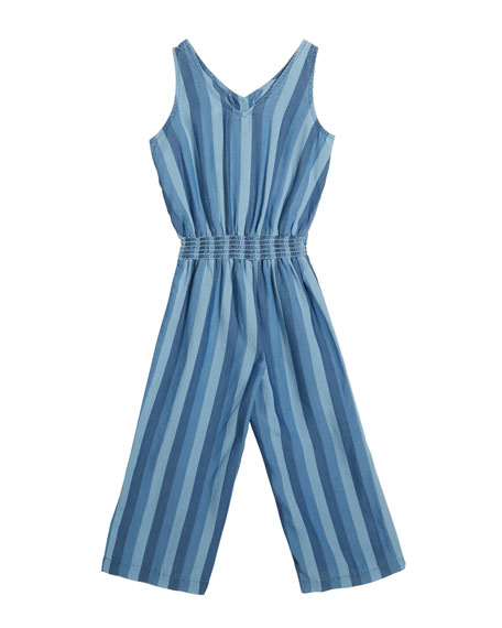 Striped Wide-Leg Sashed Romper