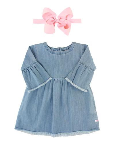 Frayed Chambray Babydoll Dress w/ Grosgrain Bow Headband  Size 3M-3T
