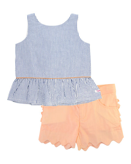 Seersucker Peplum Top w/ Scallop Shorts, Size 12M-3T