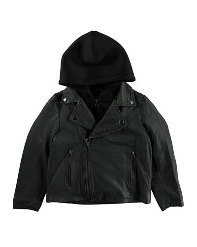 Holtti Leather Jacket w/ Zip Off Scuba Hood  Size 4-12
