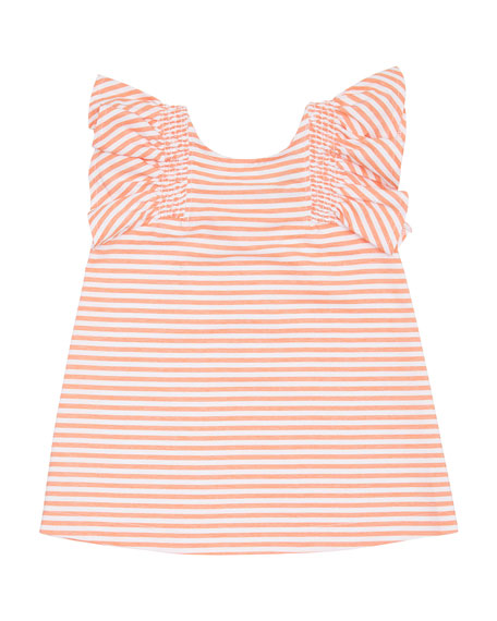 Aelicia Stripe Ruffle Dress, Size 2-4T