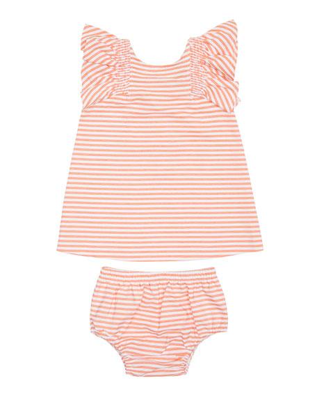 Aelicia Stripe Ruffle Dress w/ Matching Bloomers, Size 12-24 Months